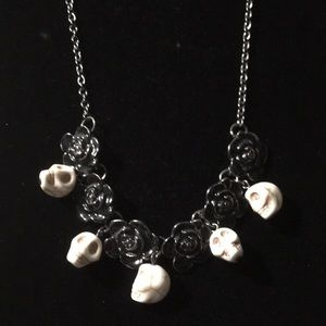 Black Rose and Skull Necklace